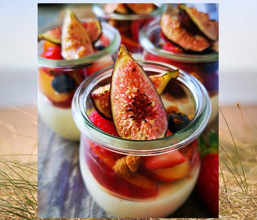Baked Yogurt, Honey Roasted Figs, Plums, Nectarines and Berries