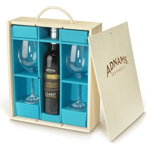 Adnams Claret and Glasses Gift Set