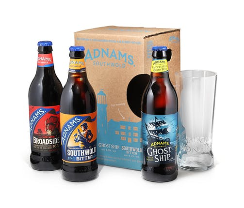 Adnams pint glass and three beer bottles gift box