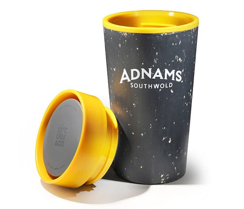 Adnams Coffee Cup Black and Yellow