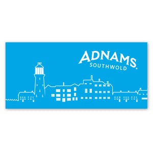 Adnams Blue Town Scene Beach Towel