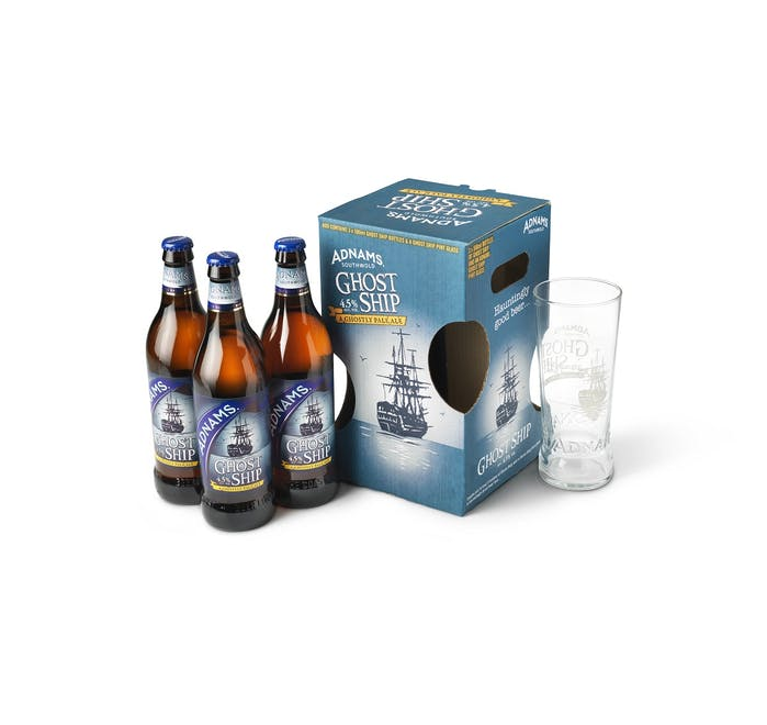 Adnams Ghost Ship three bottle and single glass gift set - from Adnams